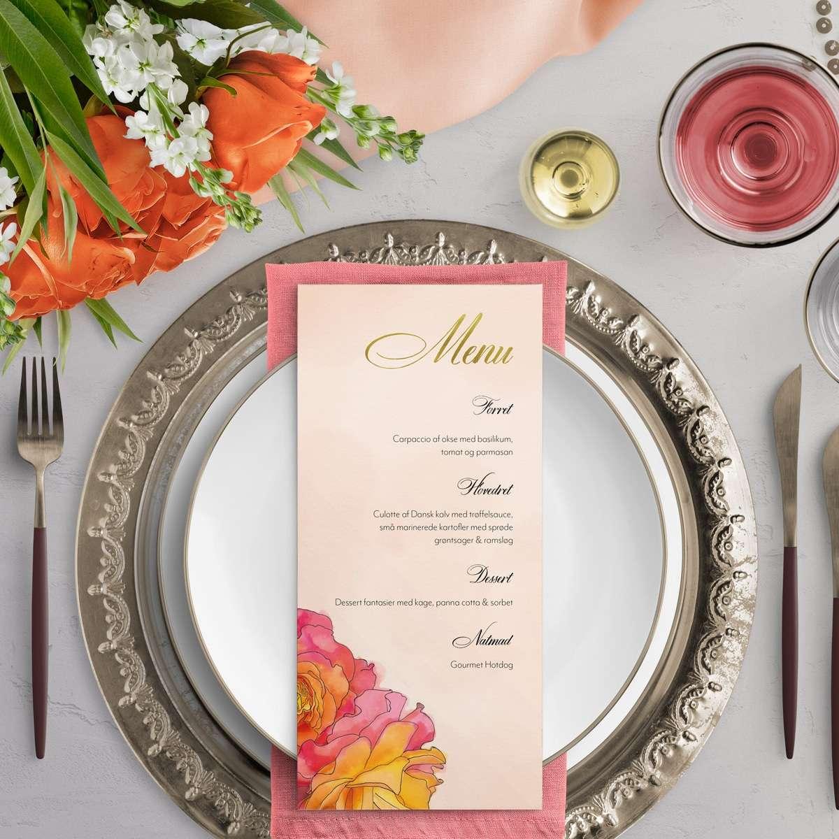 Inspiration til borddækning - Menukort Rose i farven Orange