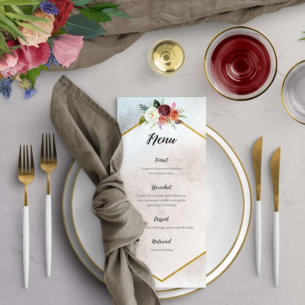 Inspiration til borddækning - menukort Fleur Ocean