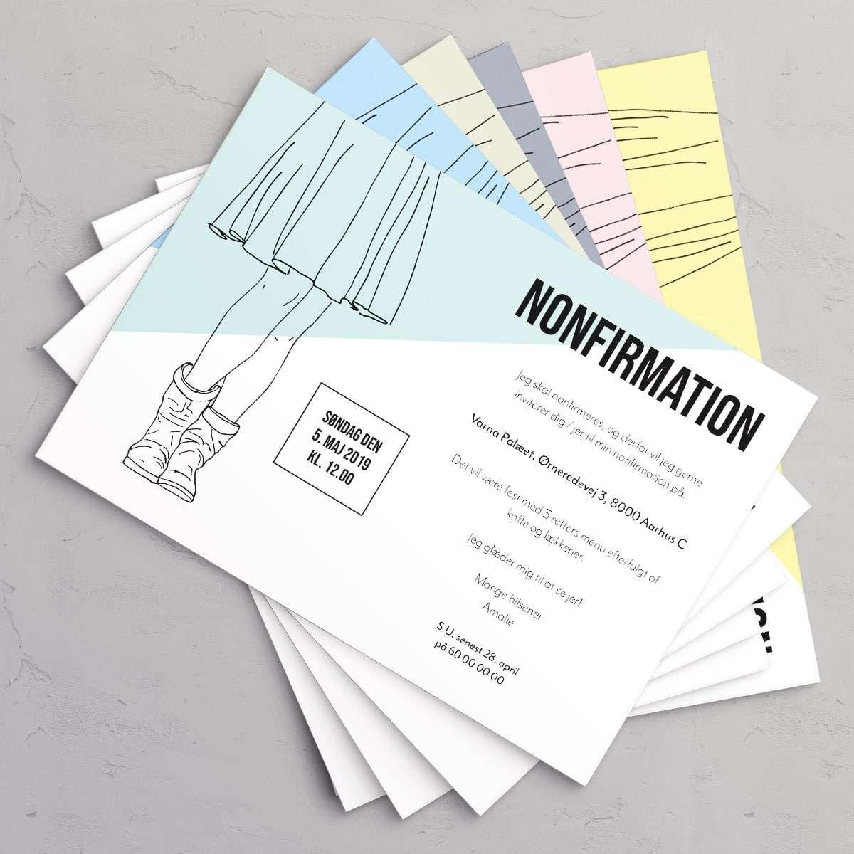 Cool Girl Cool Boots nonfirmationsinvitation i farverne Seafoam, Ice Blue, Mint, Slate, Petal og Limoncello.