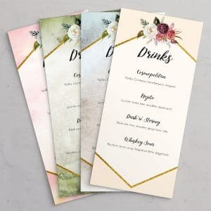 Drinkskort, der passer til bryllupsinvitationerne i designlinjen Fleur i farvene Eternal, Ocean, Olive og Peach.