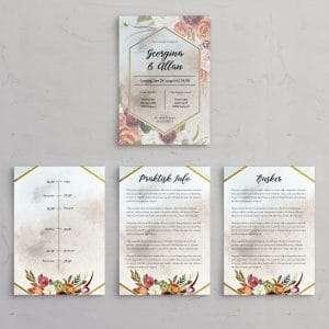 Tillægssider, der passer til bryllupsinvitation i boheme stil. Designlinjen Fleur kommer i farvene Ocean, Olive Peach og Eternal.