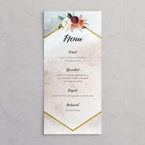 Menukort der passer til bryllupsinvitationerne i designlinjen Floral i farven Ocean.