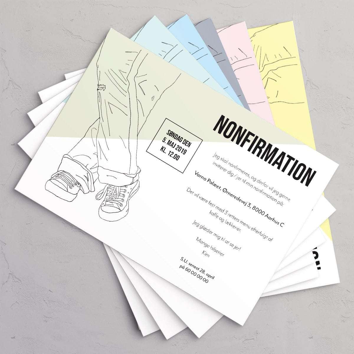 Sneaks nonfirmationsinvitation i farverne Seafoam, Ice Blue, Mint, Slate, Petal og Limoncello.