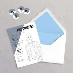 Klistermærker med initialer og invitationen Suit Up! i farven Slate