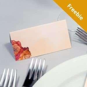 Bordkort i Rose. Foldet og uden navn. Gratis at hente
