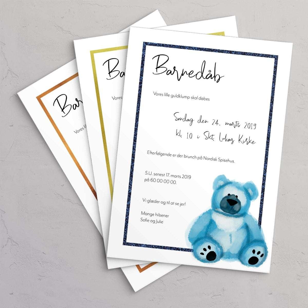 Barnedåbsinvitation Teddy Blue 3 farver