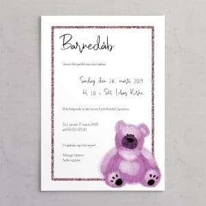 Barnedåbsinvitation med Pink bamse og ramme i dusty rose