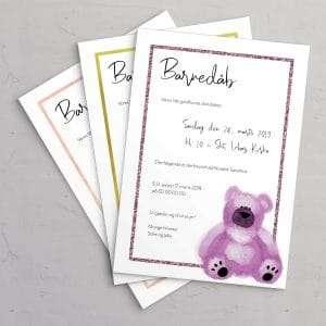 Barnedåbsinvitation med Pink bamse og ramme i dusty rose, Golden rose og peachy rose