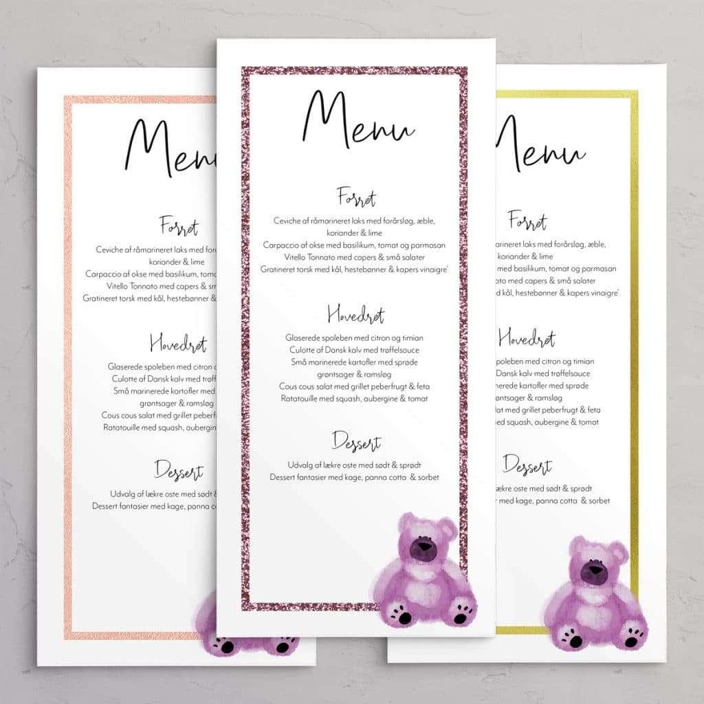 Menukort Teddy Pink - menukort til barnedåb med sød bamse