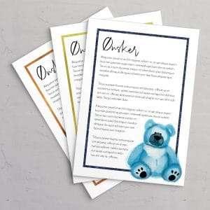 Ønskeseddel til barnedåbsinvitation med blå bamse