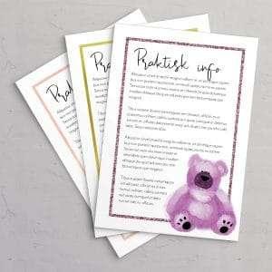 Praktisk information til barnedåbsinvitation med Pink bamse og ramme