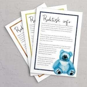 Praktisk information til barnedåbsinvitation med blå bamse og ramme