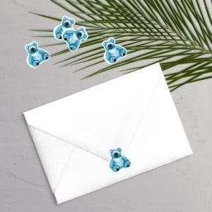 Klistermærker til designlinjen Teddy Blue perfekt til barnedåb og navngivning