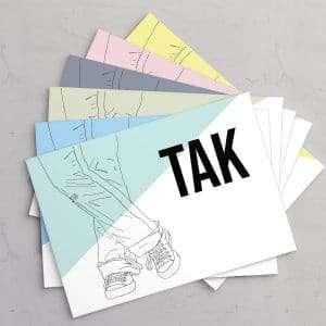 Takkekort til konfirmation / nonfirmation i designet Sneaks i 6 forskellige farver