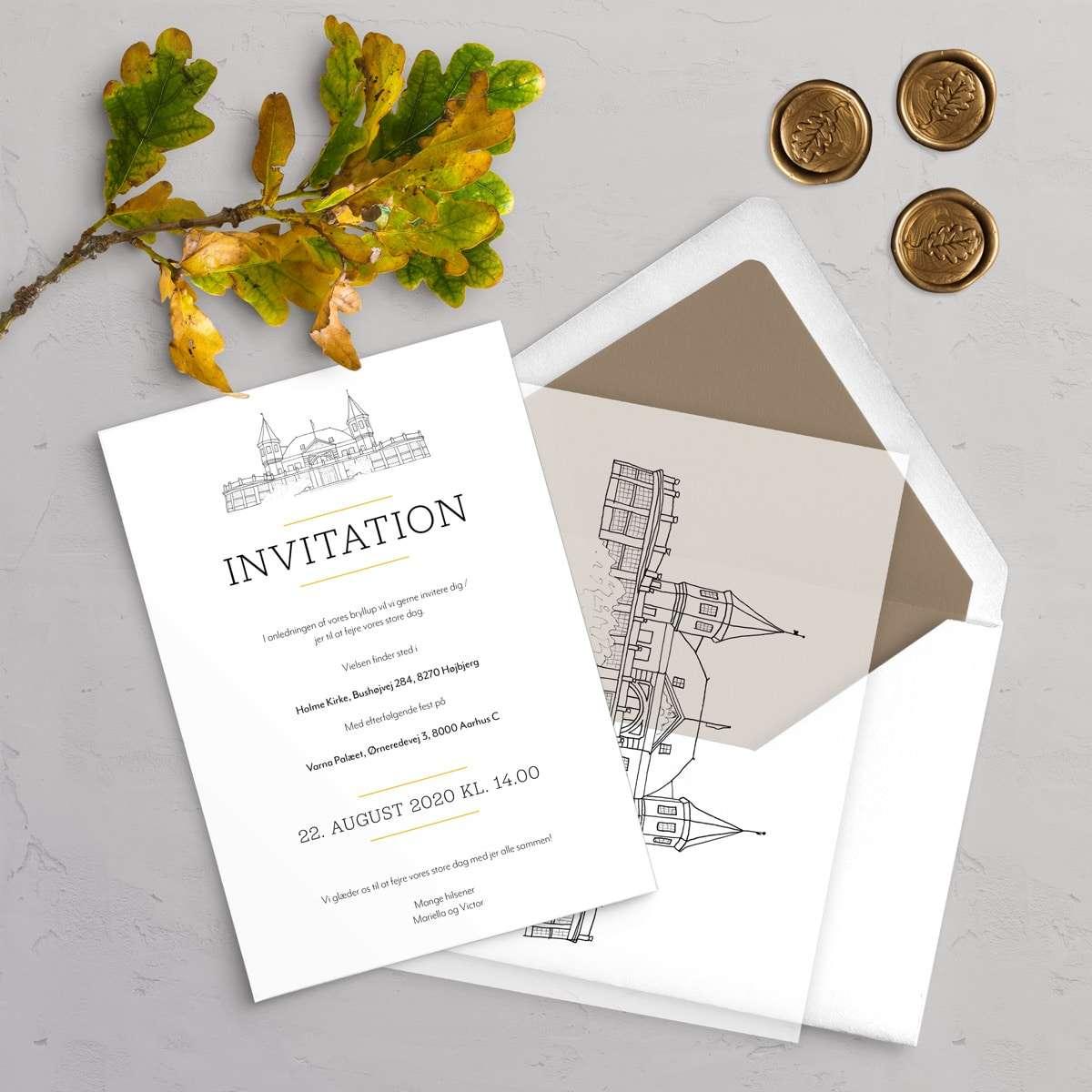 Bryllupsinvitation Varna Premium Bundle indeholder Varna bryllupsinvitation, vellum cover med dine gæsters navne, laksegl og kuvert med for.