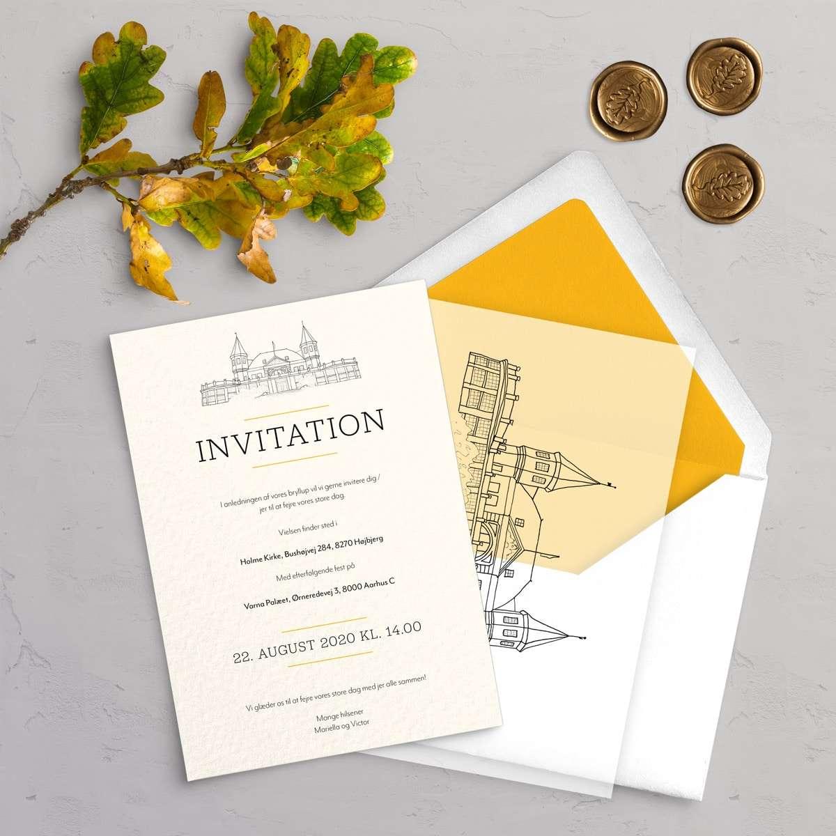 Bryllupsinvitation Varna Premium Bundle Akvarel indeholder Varna bryllupsinvitation, vellum cover med dine gæsters navne, laksegl og kuvert med for.