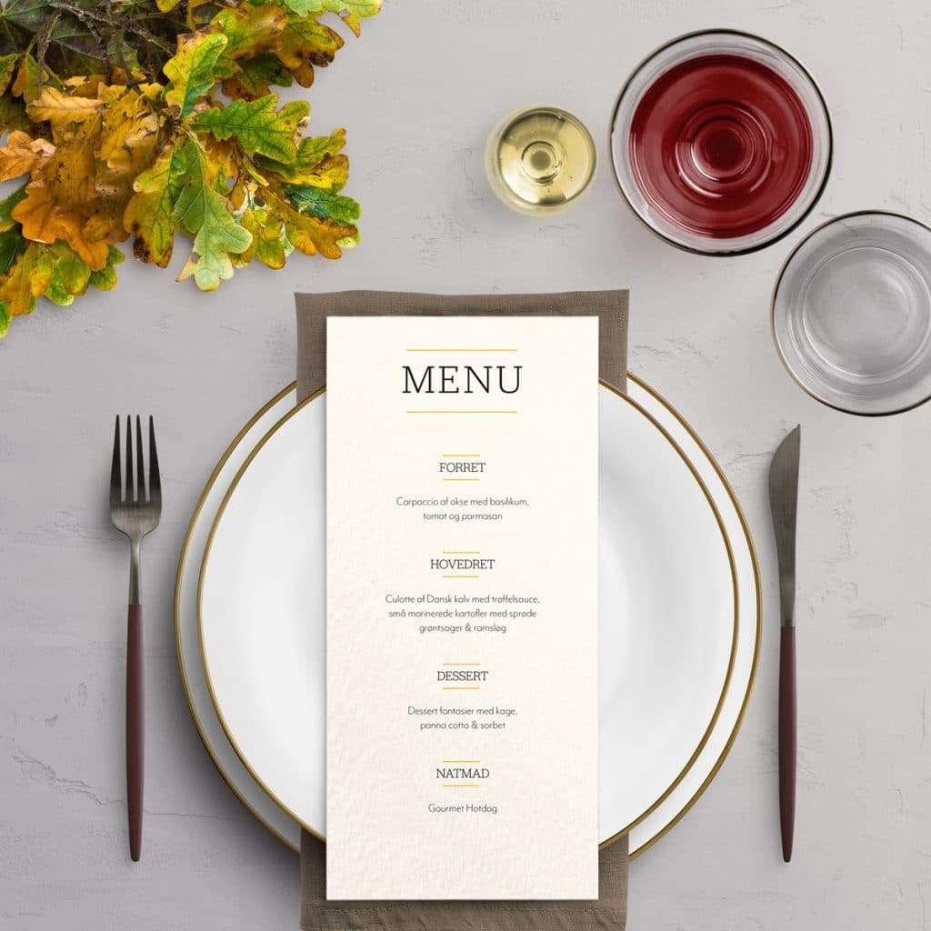Menukort trykt på akvarel til designlinjen Varna - inspiration til borddækning