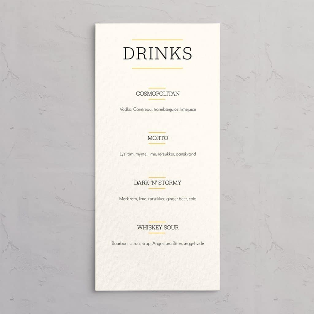 Drinkskort til designlinjen Varna - drinkkortet er trykt på akvarelpapir