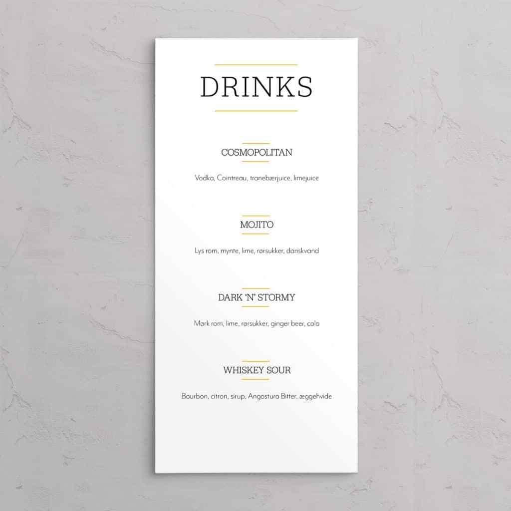 Drinkskort til designlinjen Varna