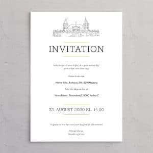 Varna Bryllupsinvitation med illustration af Varna Palæet