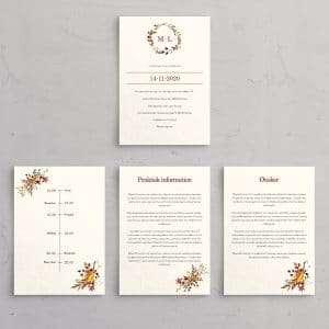 Tillægssider til bryllupsinvitationen Autumn Wreath trykt på akvarelpapir. Et smukt design til at efterårsbryllup med krans i efterårsfarver.