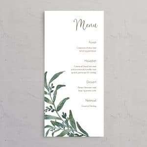 Menukort til bryllupsinvitationen Golden Branches med rustikt og naturligt bordkort i genbrugspapir eller vellum.
