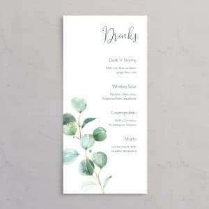 Drinkskort til bryllupsinvitationen Golden Eucalyptus elegant og naturlig bryllupsinvitation med eukalyptus og guldfolie og vellum (kalkerpapir) forside.