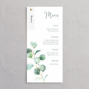 Menukort til bryllupsinvitationen Golden Eucalyptus med rustikt og naturligt bordkort i genbrugspapir eller vellum.