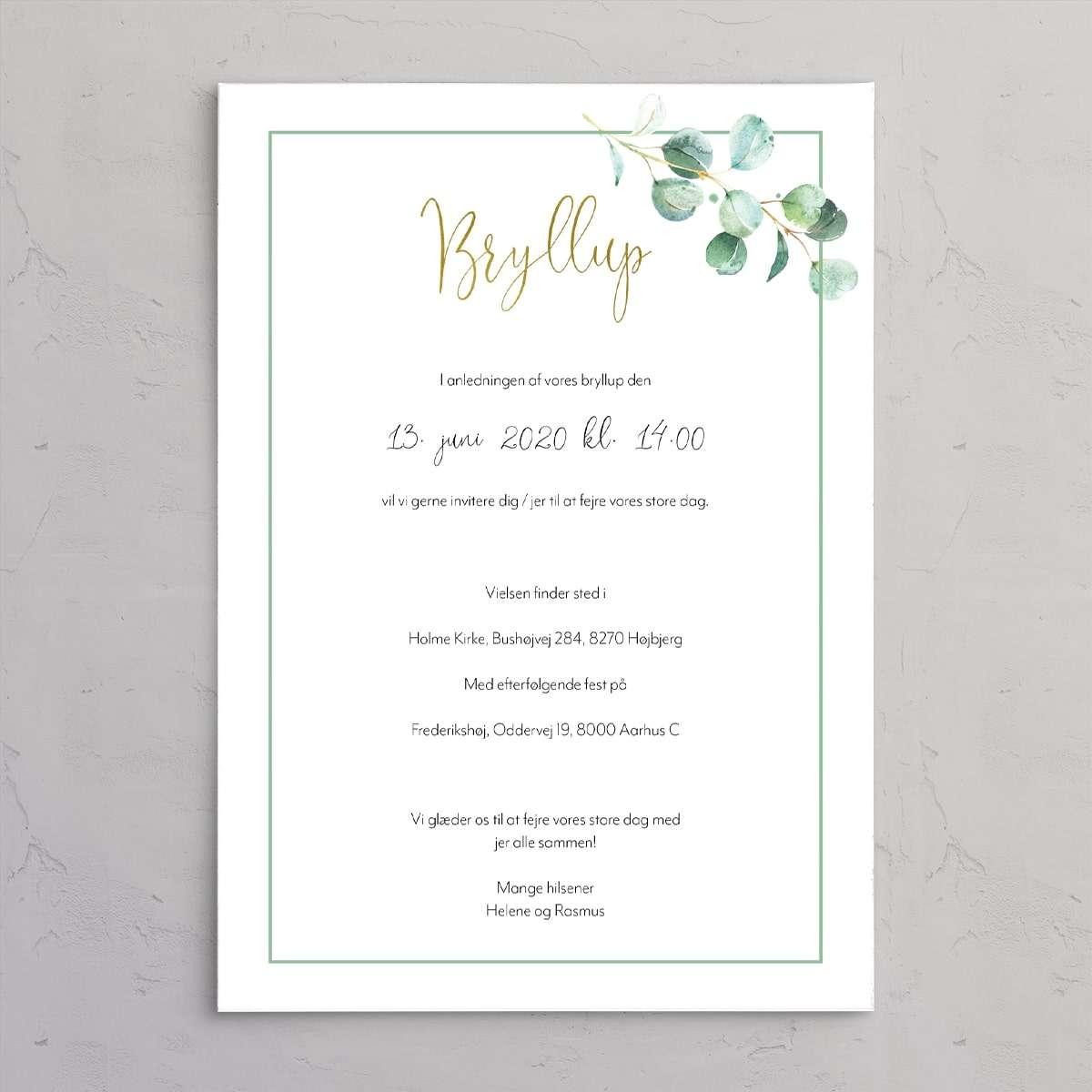 Bryllupsinvitationen Golden eucalyptus let og stilfuld bryllupsinvitation med guldfolie