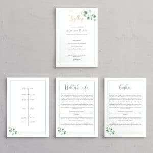 Tillægssider til bryllupsinvitationen Golden Eucalyptus let og stilfuld bryllupsinvitation med guldfolie