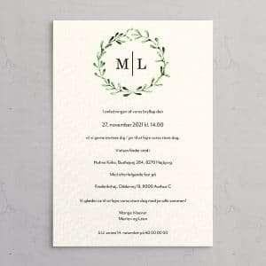 Bryllupsinvitation på akvarelpapir med krans af mistelten perfekt til et vinterbryllup - Mistletoe Wreath Akvarel