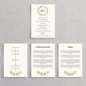 Mistletoe tillægssider til bryllupsinvitation. Perfekt egnet til det nordiske vinterbryllup med mørke aftentimer og frostdækket landskab.