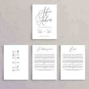 Tillægssider til bryllupsinvitationen Calligraphy med smuk kalligrafi skrift. Tidslinje med ikoner, praktisk information og ønsker.
