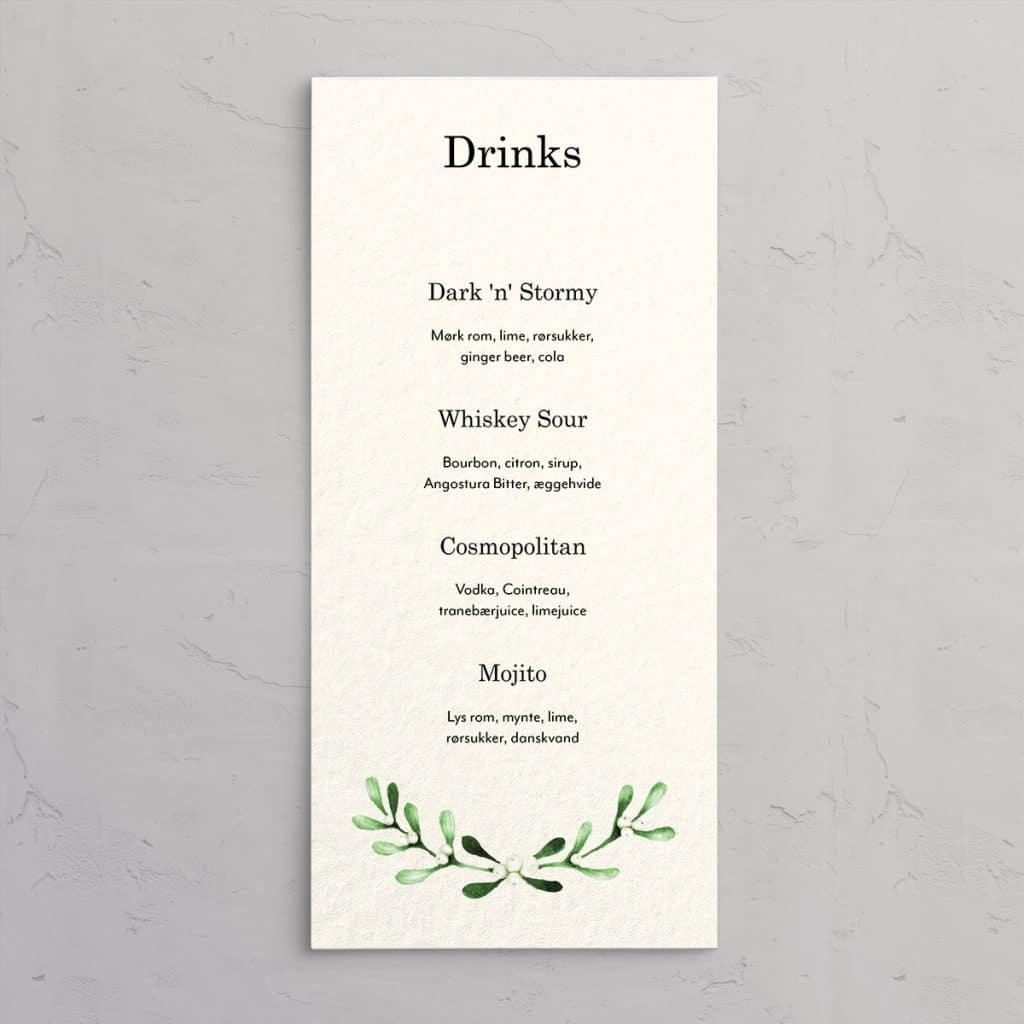 Drinkskort Mistletoe Wreath Akvarel - til julebryllup eller julefrokosten