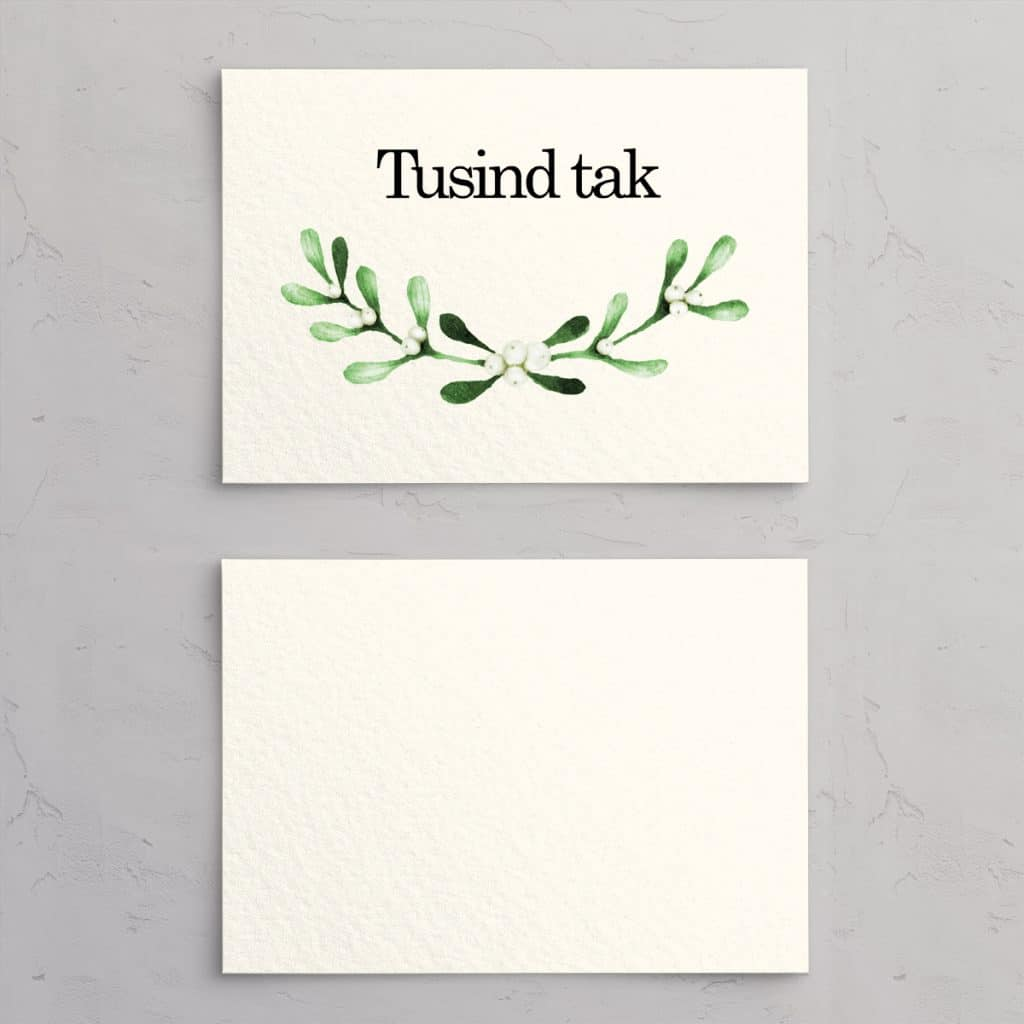 Mistletoe Takkekort til bryllupsinvitation på akvarelpapir. Perfekt egnet til det nordiske vinterbryllup med mørke aftentimer og frostdækket landskab.