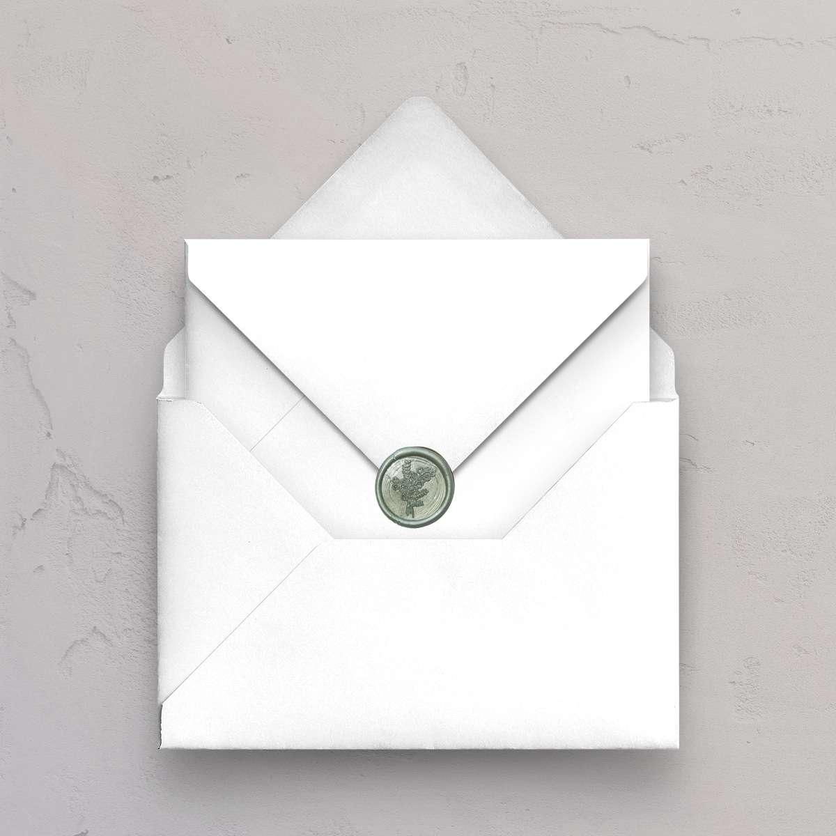Hvid C5 kuvert med B5 ydrekuvert med laksegl med eukalyptus motiv i farven Sage