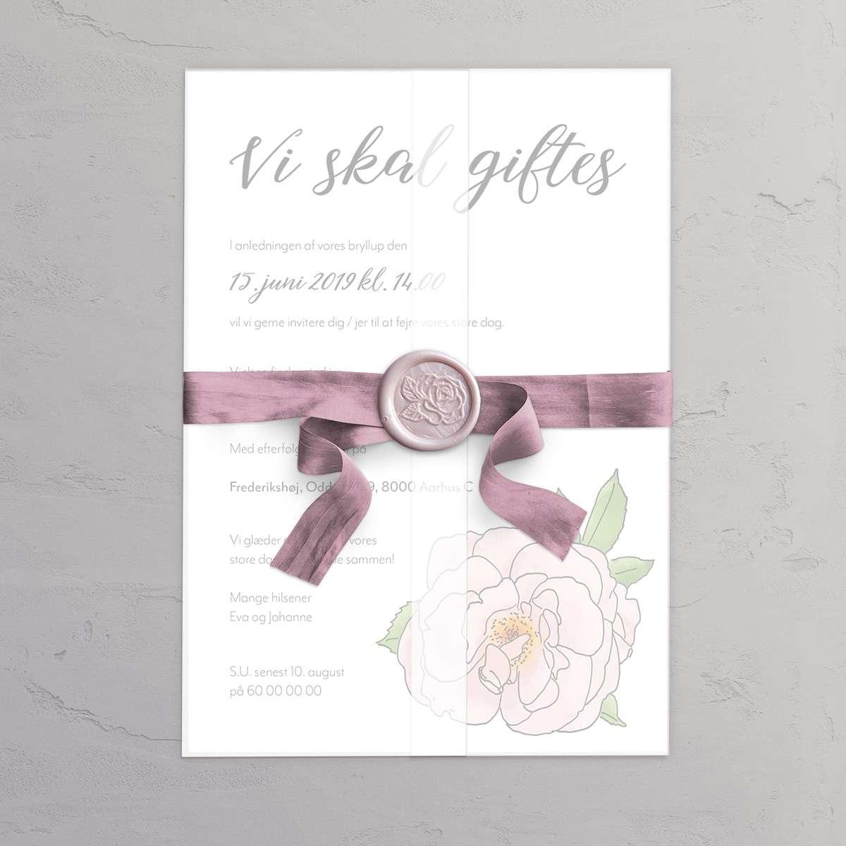 Bryllupsinvitation Hybenrose med laksegl Rose i farven Barely Blush og satinbånd i farven Victorian Rose