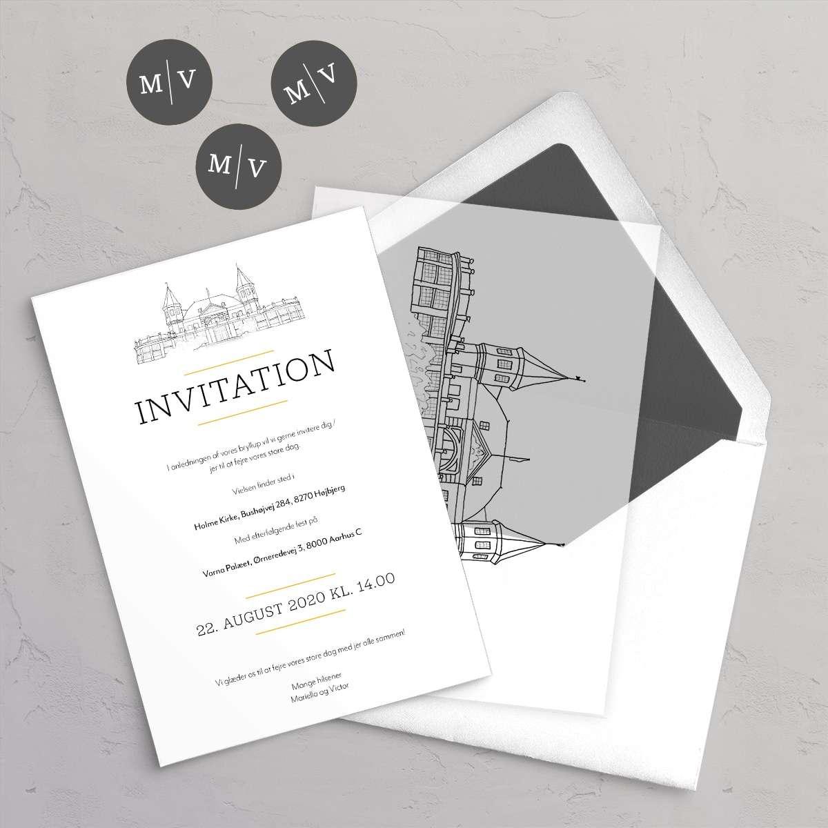 Bryllupsinvitation Varna med vellumcover, monogram klistermærke og foret kuvert i farven Pebble