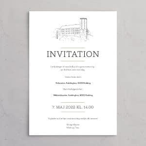 Bryllupsinvitation med illustration af Koldinghus