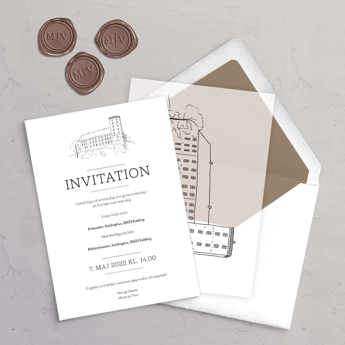 Bryllupsinvitation Koldinghus med vellumcover, monogram klistermærke og foret kuvert i farven Coffee