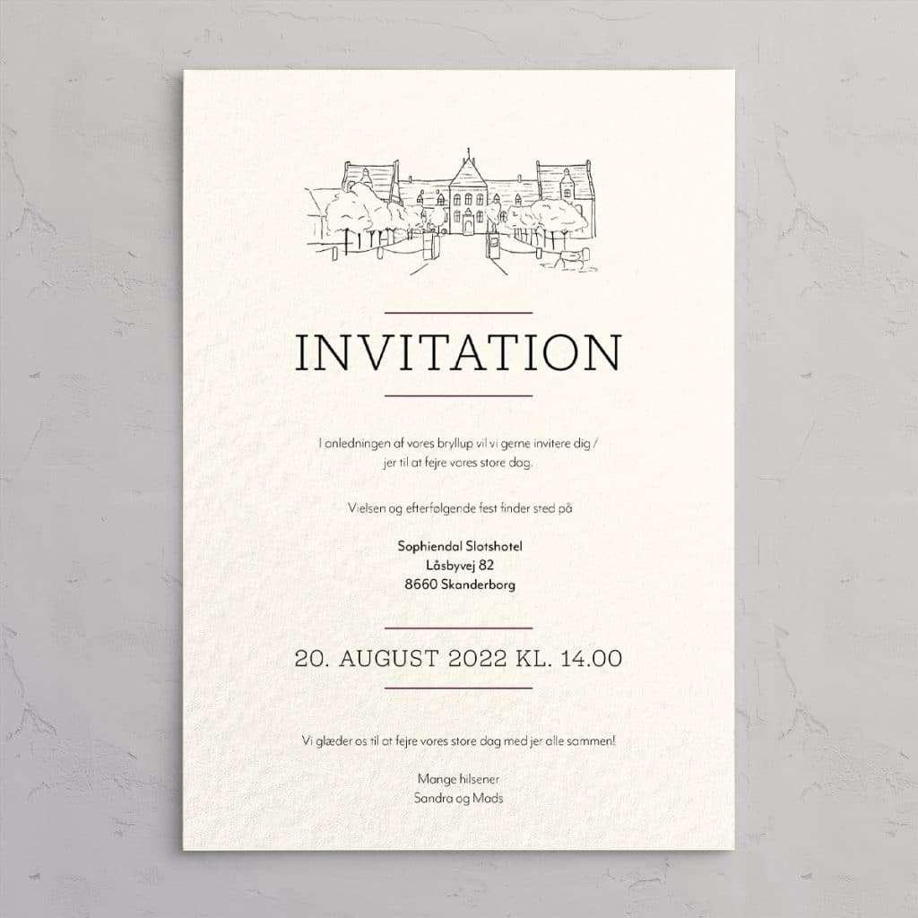 Bryllupsinvitation med illustration af Sophiendal Slotshotel på akvarelpapir