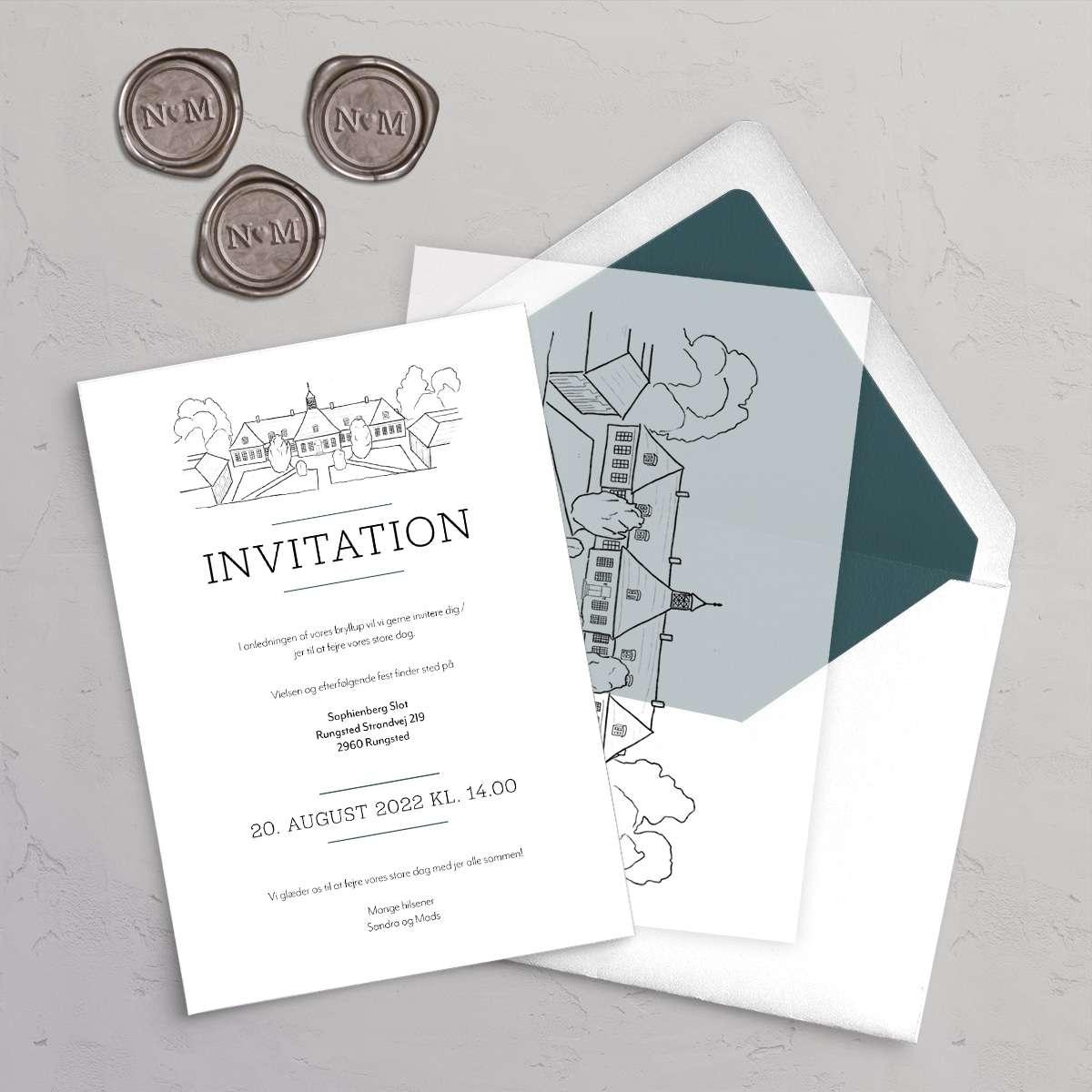 Bryllupsinvitation Sophienberg Slot med vellumcover, monogram klistermærke og foret kuvert i farven Teal