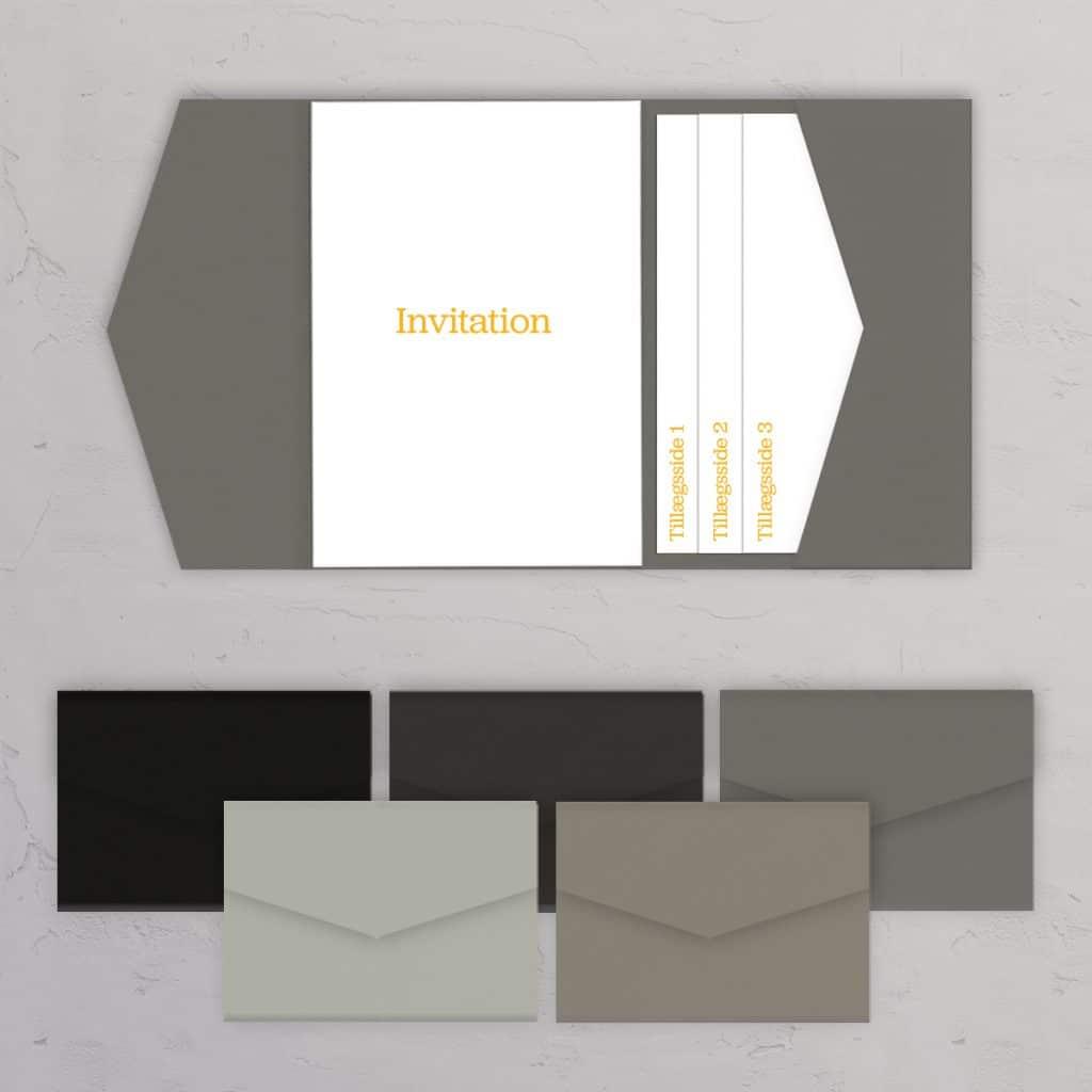 Pocketfold A5 med sidelomme grå og sorte nuancer til bryllupsinvitationer og DIY