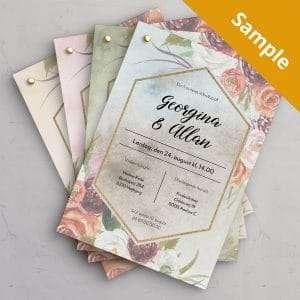 Sample på bryllupsinvitation Fleur - 4 varianter: Ocean, Olive, Peach og Eternal