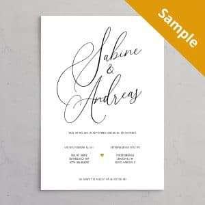 Sample / Vareprøve på Bryllupsinvitation Calligraphy - stilren og klassisk bryllupsindbydelse med brudeparrets navne i kalligrafi med guldhjerte