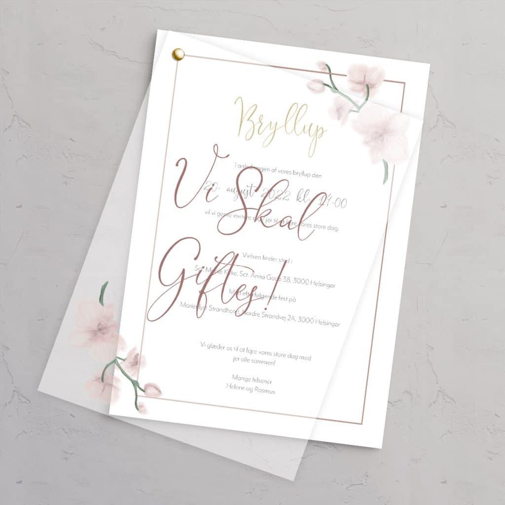Bryllupsinvitation Golden Orchid med guldfolie og vellumforside med