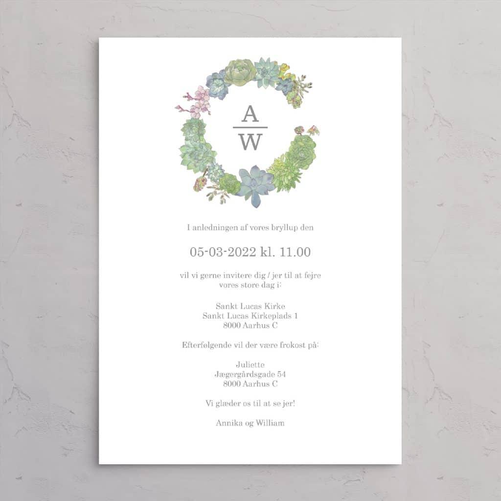 Bryllupsinvitation Succulents Wreath med monogram