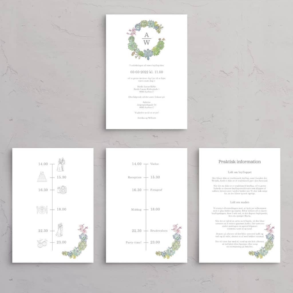 Tillægssider Succulents Wreath med Guldfolie til Bryllupsinvitationen med monogram