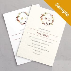 Sample af Bryllupsinvitationen Autumn Wreath på akvarelpapir eller på hvidt papir med guldfolie. Et smukt design til at efterårsbryllup med krans i efterårsfarver.