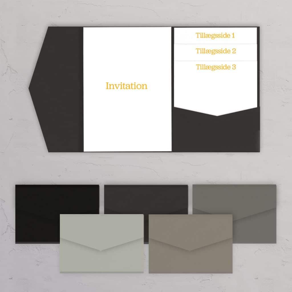 Pocketfold / lommeinvitation A5 grå og sorte nuancer til bryllupsinvitationer og DIY